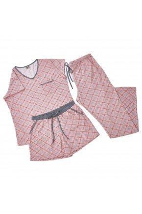 kit de pijama feminino manga curta com short e calca flare