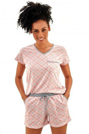 pijama feminino curto com shorts xadrez rosa short doll mania pijamas imagem possui direitos autorais 3