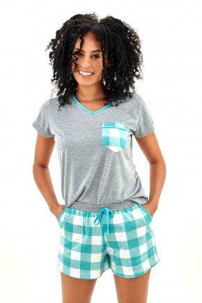 pijama feminino xadrez curto com short verde mania pijamas essa imagem possui direitos autorais 2