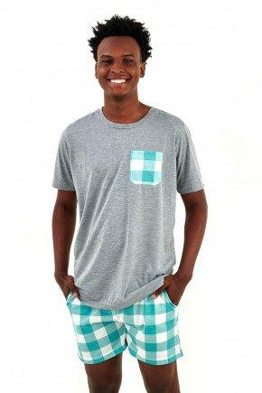 pijama masculino xadrez curto com shorts e bolsos mania pijamas a imagem possui direitos autorais 3