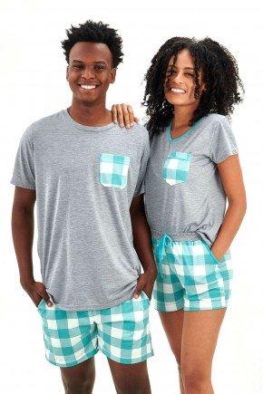 pijama de casal xadrez verde agua curto mania pijamas essa imagem possui direitos autorais 2