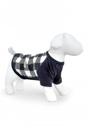 pijama para cachorro pets xadrez preto modelo familia 2021 roupa para cachorro 1
