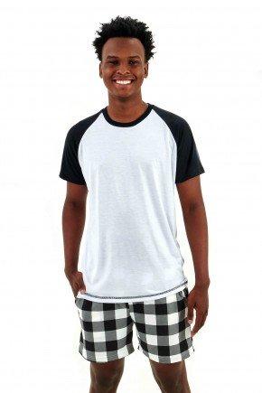 pijama masculino xadrez preto curto com shorts mania pijamas essa imagem possui direitos autorais 2