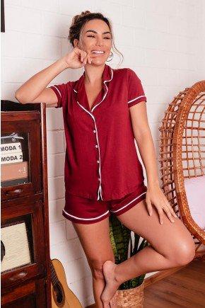 pijama feminino americano curto com botoes marsala 01