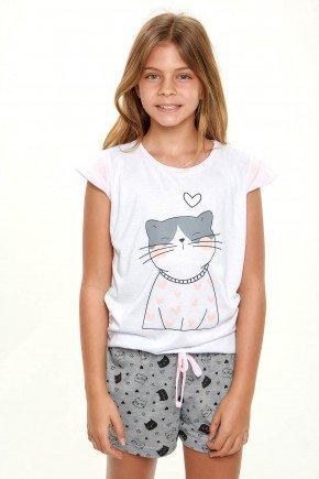 pijama de gatinho curto infantil menina mania pijamas 4
