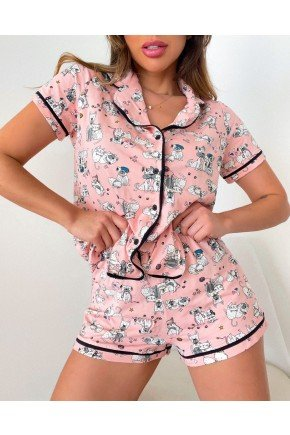 pijama americano feminino curto estampado dogs e cats em viscolycra mania pijamas 3