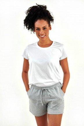 pijama feminino curto algodao basico branco com moletinho cinza mescla mania pijamas essa imagem possui direitos autorai 5