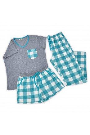 kit de pijama feminino xadrez verde manga curta com short e calca