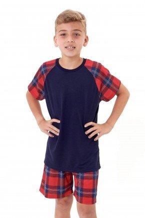 pijama de natal masculino infantil juvenil menino xadrez marinho mania pijamas 3
