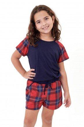 pijama de natal feminino infantil juvenil menina xadrez marinho mania pijamas 4