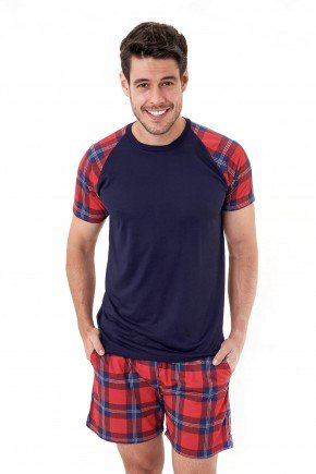 pijama de natal masculino xadrez marinho curto mania pijamas 2